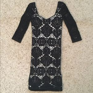 FREE PEOPLE INTIMATELY BLACK LACE EMBROIDERD DRESS
